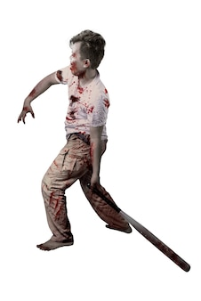 白い背景の上に孤立して立っている野球のバットを保持している彼の体に血と傷を持つ怖いゾンビ
