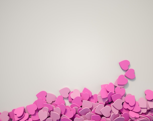 Scatterd pink hearts on a white surface