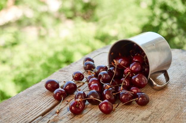 Разбросанные ягоды красной спелой вишни из металлической кружки