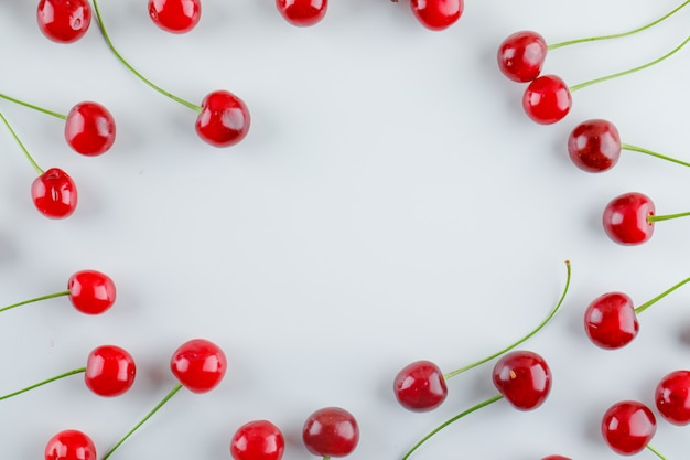 Scattered cherries. flat lay.