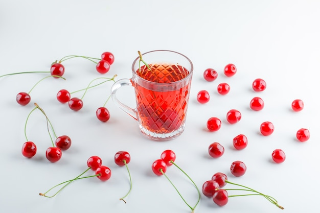 Scattered cherries with tea, high angle view.