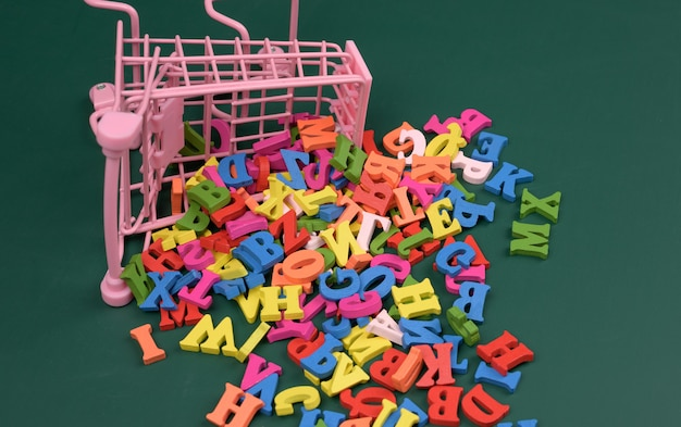 Scattered multicolored letters of the english alphabet from a miniature shopping cart on a green background, close up