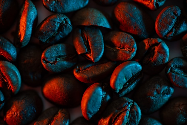 A scattering of coffee beans illuminated with neon