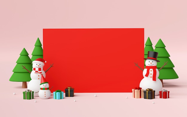 Scene of blank space with snowman and christmas gifts 3d rendering