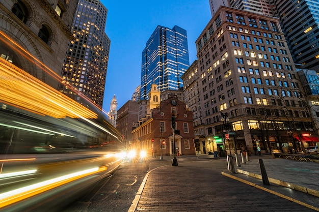 Scene of boston old state house buiding at twilight time in massachusetts usa