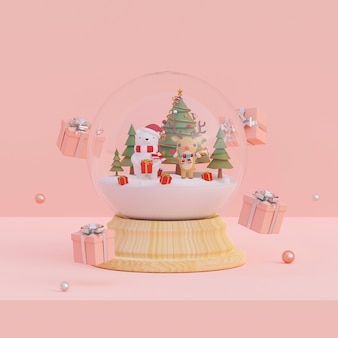 Scene of christmas gifts and bear, reindeer with christmas tree in a snow globe 3d rendering