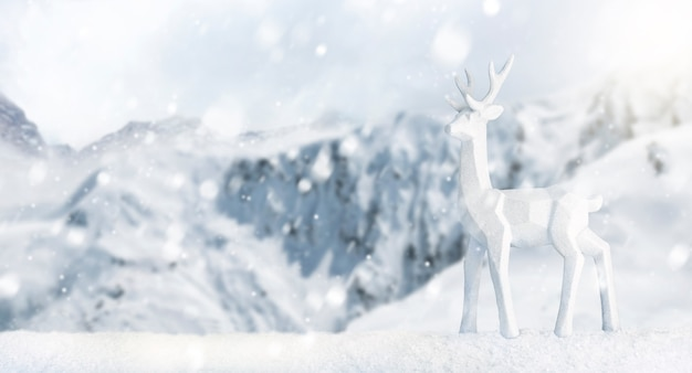 Scene of a deer in a snowy landscape. merry christmas and happy new year banner with copy space. snow background
