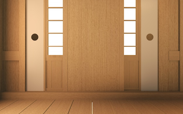 Scene empty room with decoraion and tatami mat floor.3d rendering