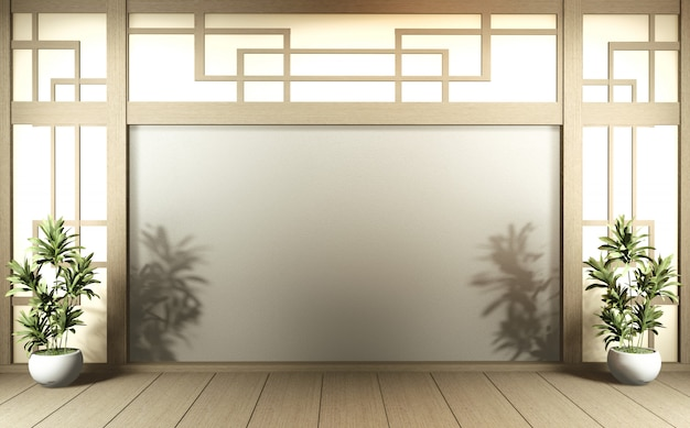 Scene empty room with decoration and tatami mat floor.3d rendering