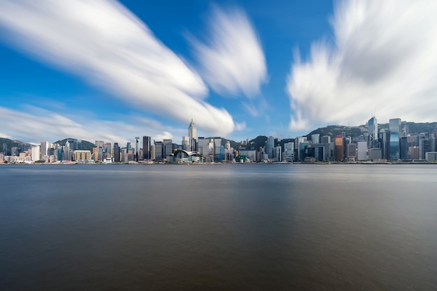 Scene of hong kong cityscape river side in the afternoon