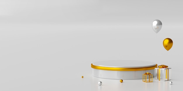Scene of minimal geometric shape podium with gift 3d illustration