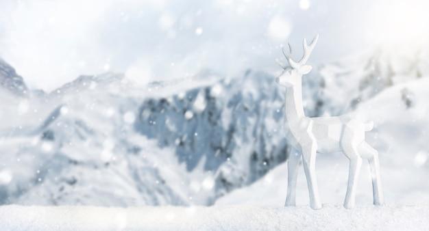 Сцена с оленем в снежном пейзаже. веселого рождества и счастливого нового года баннер с копией пространства. снежный фон