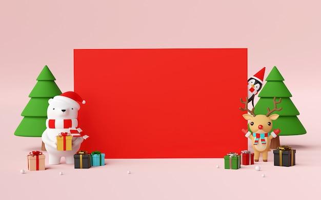 かわいいクリスマスのキャラクターとギフトの3 dレンダリングと空白のシーン