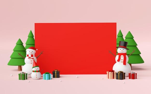 雪だるまとクリスマスのギフトの3 dレンダリングと空白のシーン