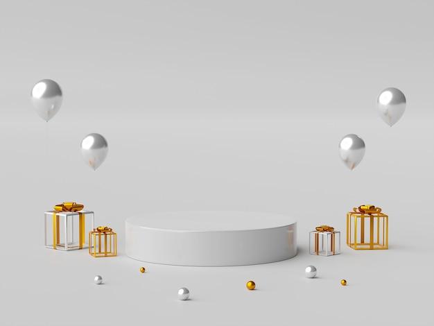 최소한의 기하학적 모양 연단 또는 제품 광고 3d 일러스트의 장면
