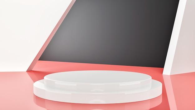 제품 프리젠 테이션을위한 기하학적 모양의 연단이있는 파스텔 색상의 장면