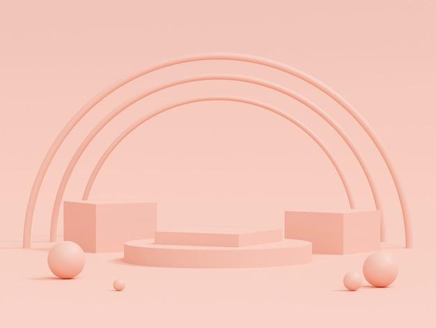 ピンクの背景、3 dレンダリングに幾何学的形状の表彰台とパステルカラーのシーン