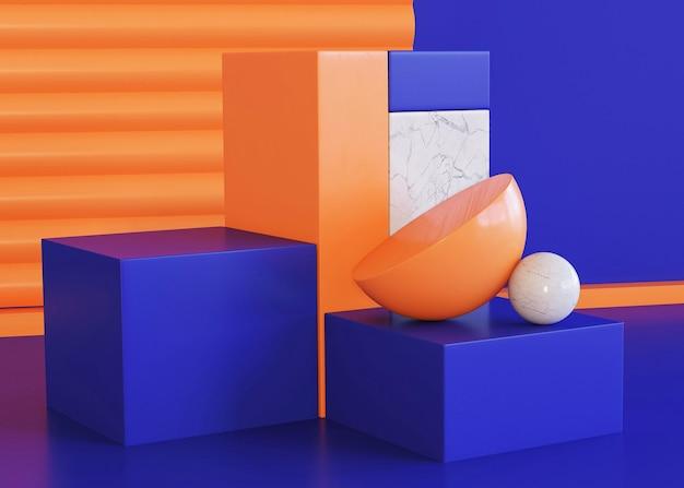 三次元の幾何学的背景のシーン