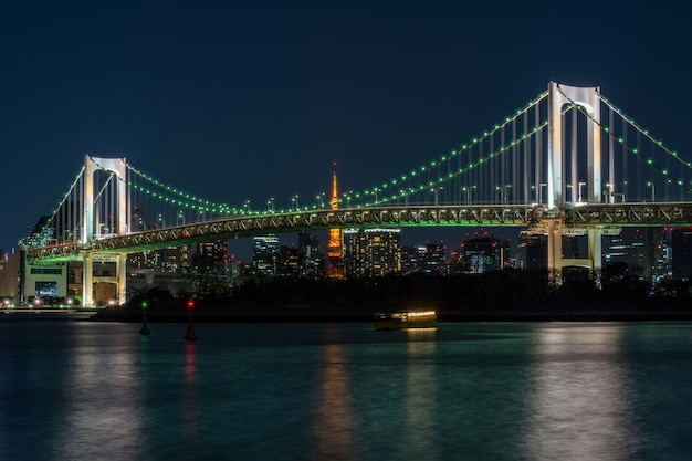 夕暮れ時に東京タワーが見える東京レインボーブリッジの風景、お台場、日本