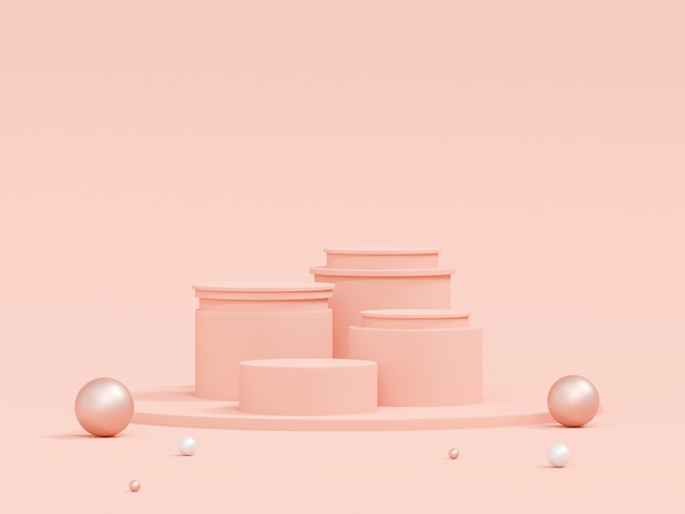 Scene of pastel color with geometric shape podium on pink background, 3d rendering