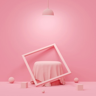 Scene of pastel color with geometric shape podium with lamp on pink background, 3d rendering