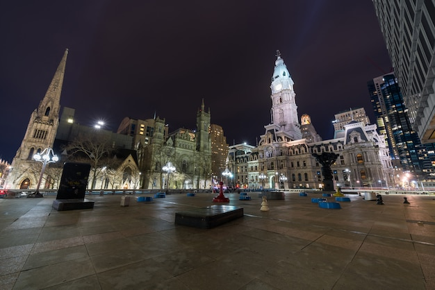 Scene of philadelphia city hall, masonic temple and arch street united methodist church