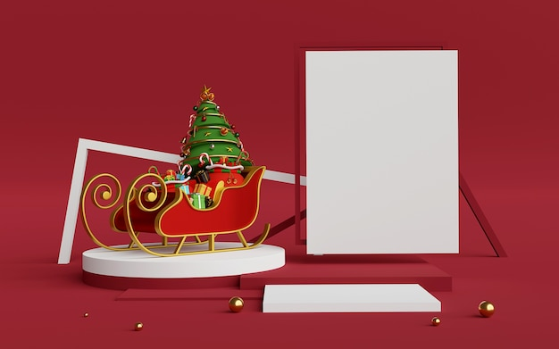 Scene of podium and copy space with christmas sleigh