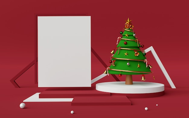 Scene of podium and copy space with christmas tree 3d rendering