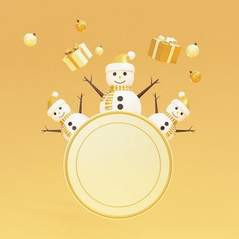 Scene of podium with snowman and gift boxes 3d rendering