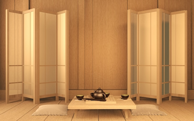 Scene room в стиле дзен с японским декором на татами 3d рендеринг