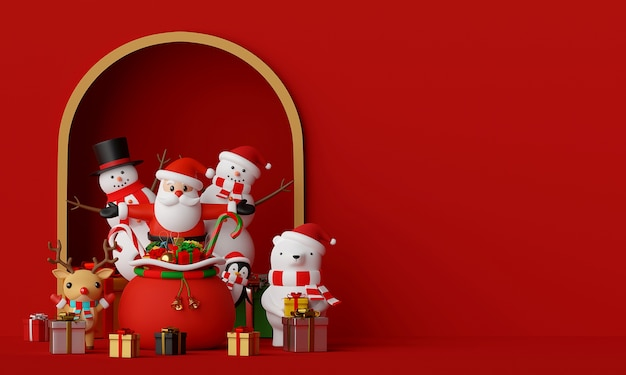 Scene of santa claus and friends with copy space 3d rendering