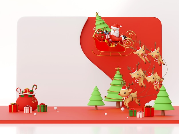 Scene of santa claus on a sleigh full of christmas gifts 3d rendering