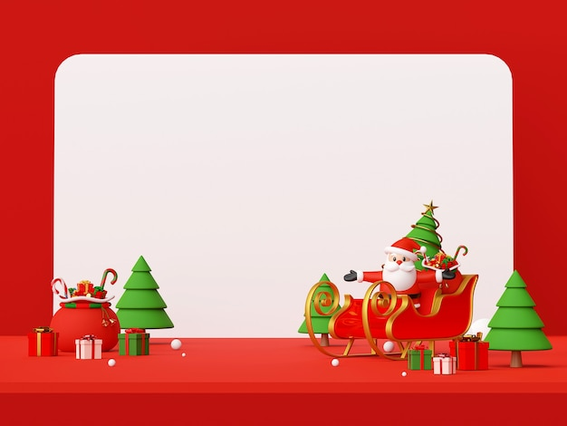 Scene of santa claus on a sleigh with christmas gifts 3d rendering