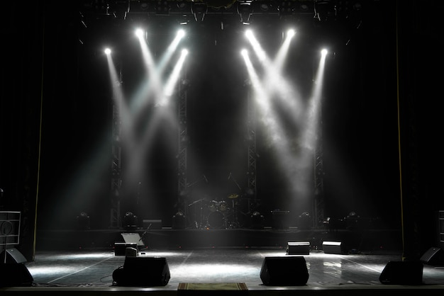 Scene, stage light with colored spotlights and smoke.