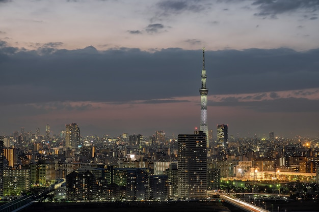 Scene of tokyo sky tree over the downtown cityscape, japan