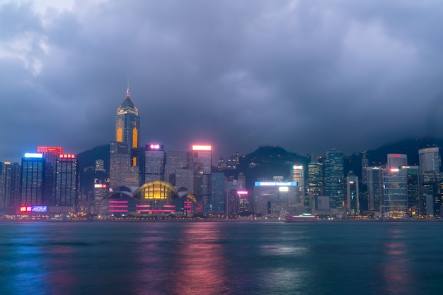 Scene of the victoria harbour in hong kong.