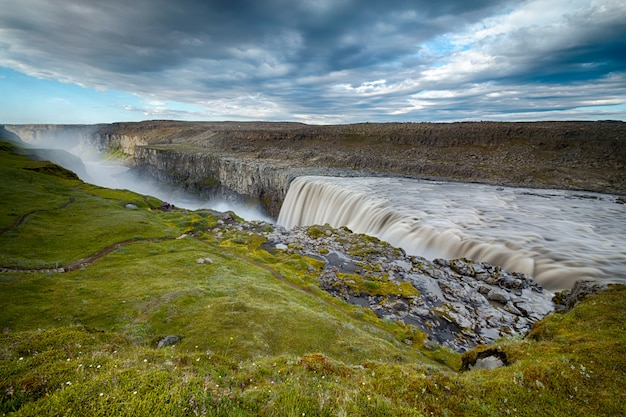 Scene of waterfall dettifoss in iceland
