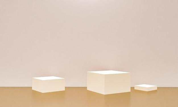 コピースペース、3dレンダリングの抽象的な背景デザインのミニマリズムスタイルでのモックアッププレゼンテーションのためのベージュ色の表彰台のシーン