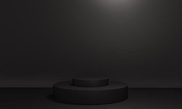 복사 공간이 있는 미니멀리즘 스타일의 프리젠테이션을 위한 검정 연단이 있는 장면, 3d 렌더링 추상 배경 디자인