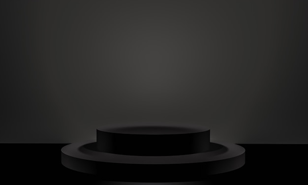 コピースペース、3dレンダリングの抽象的な背景デザインのミニマリズムスタイルでのモックアッププレゼンテーションのための黒い色の表彰台のシーン