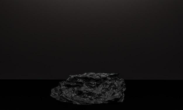 コピースペース、3dレンダリングの抽象的な背景デザインのミニマリズムスタイルでのモックアッププレゼンテーションのための黒い色の石の表彰台のシーン