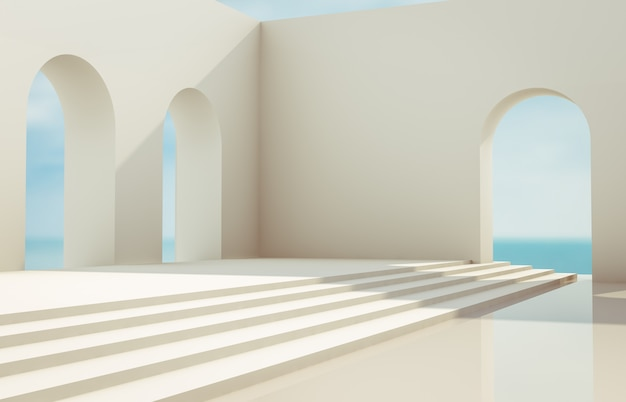 Scene with geometrical forms, arch with a podium in natural day light. minimal landscape background. sea view. 3d render background.