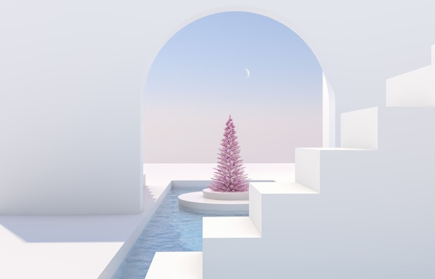 Scene with geometrical forms, arch with a podium in natural day light. minimal landscape with christmas tree