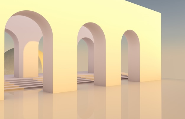 Scene with geometrical forms, arch with a podium in natural light and moon. minimal background. surreal background. 3d render.