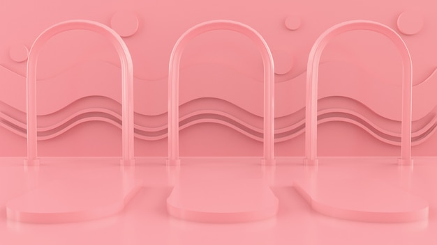 Scene with geometrical forms, arch with a podium in pastel colors,  pastel platform, 3d render