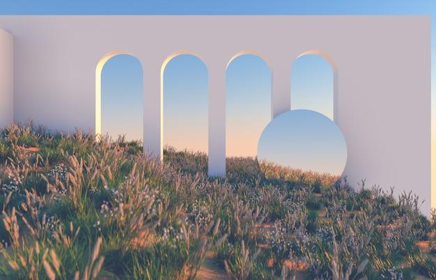 기하학적 형태와 장면, 자연의 날 빛에 야생의 꽃 필드와 아치. 최소한의 3d 풍경 배경입니다.