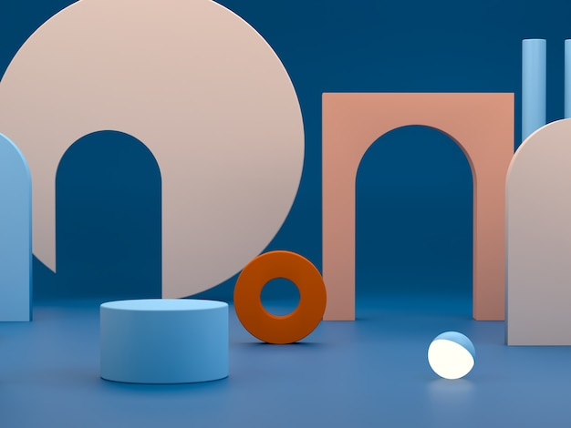 Scene with geometrical forms in blue and orange colors.