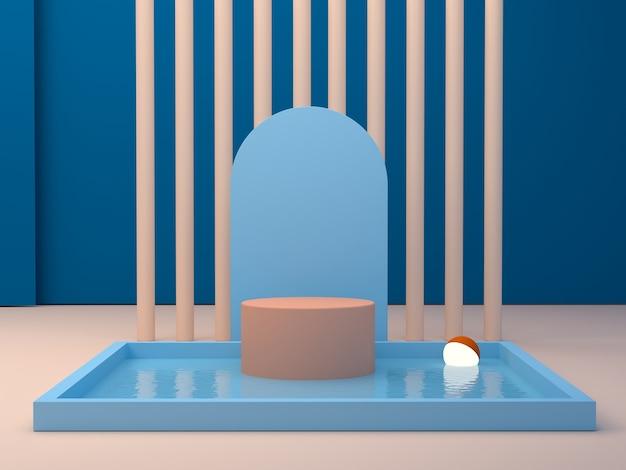 Сцена с геометрическими формами синего и оранжевого цветов.