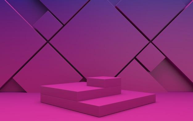 기하학적 형태, 최소한의 선형 배경, 보라색 추상 기하학적 모양 그룹 세트, 3d 렌더링, 사각형 플랫폼이있는 장면