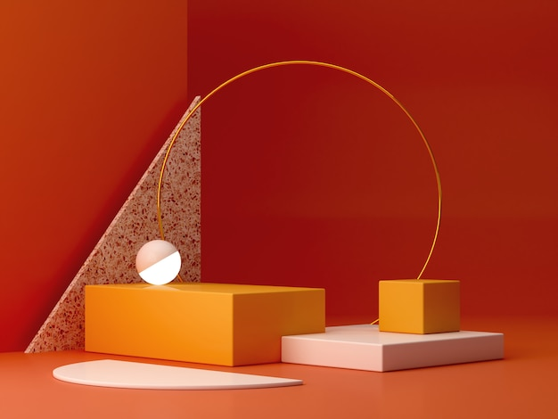 Scene with geometrical forms with empty podium. geometric shapes